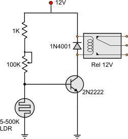 light dark activated relay rh pcbheaven com Diagram LDR Timing Circuit Repeetin Simple Circuit Diagram LDR