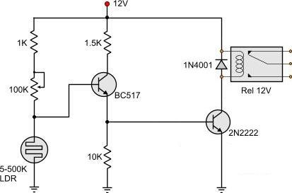 light dark activated relay rh pcbheaven com ldr operated relay circuit diagram LDR Repeating Timer Circuit Diagram