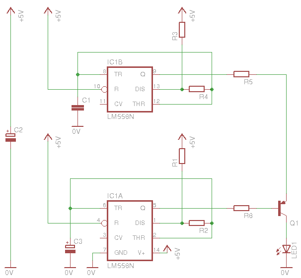 Here is how the transmitter works. As you see, i have use one 556 timer, which contains 2x555 timers. You can use a 556 as well, or you can choose to use ...